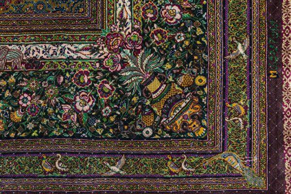 Qom Handknoted Silk Rug-7531